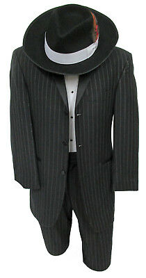 High Quality Boys Size Black Pinstriped Ecko Tuxedo with Pants Ringbearer