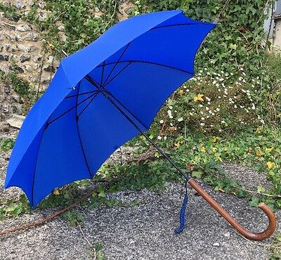 S Fox&Co Ladies royal Blue Paragon Umbrella Malacca Handle
