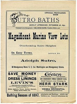 Sutro Baths~San Francisco Bathhouse~Antique 11/28/1897 Swimming Event Program