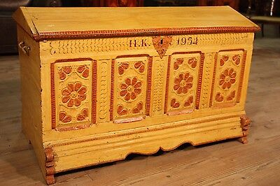 Chest north european trunk wood lacquered painted furniture antique style 900 XX
