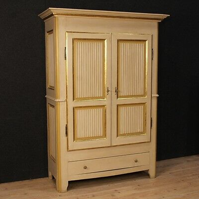Armoire wardrobe closet wood lacquered golden painted antique 900 XX furniture