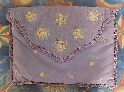 Vintage satin nightdress/pyjama case ruffled edges and embroidery REDUCED!