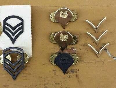 Vintage US MILITARY Hat/Lapel Rank Pins. Black and Gold Tone Lot Of 8