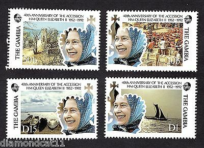 1992 Gambia 40th Anniv Queen Elizabeth II Accession SG1284-7 MS1288 MNH R27860