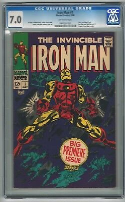 Iron Man 1 Cgc 7.0 Unrestored Off White Pages Comic Beautiful Copy!