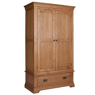 Oak 2 Door Double Wardrobe 1 Drawer Solid Wood Rustic Bedroom Furniture