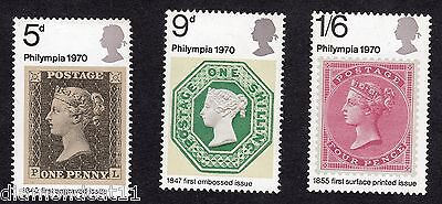 1970 Philympia 70 Stamp Exhibition SG 835 to 837 set MNH R15446