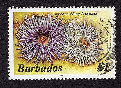 1987 Barbados $1 warty anemone FINE USED R31869