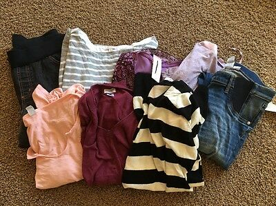 Huge 8 Piece Modern Maternity Lot Sweaters Tops Jeans Size M Stylish Trendy