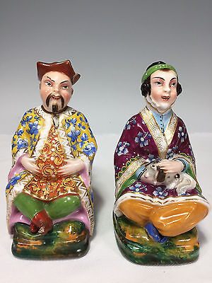 Antique CHINESE Hand Painted Porcelain Figural Decanter Bottles Man & Woman Dog