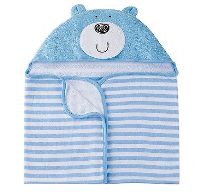 Gerber Baby Boy Terry Hooded Blue Bear Bath Wrap; Baby Clothes Shower Gift
