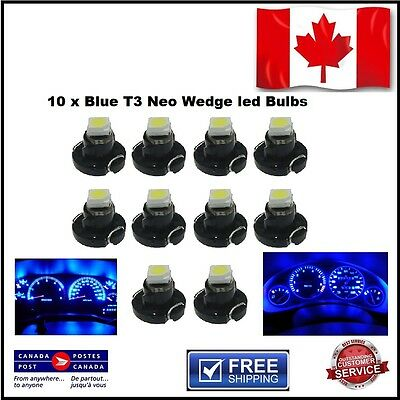10 x Blue T3 Neo Wedge led Bulbs - Instrument Cluster Light Panel Gauge Lamp SMD