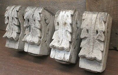4 Wooden Corbels Architectural Salvage Decorative Acanthus Carving Vintage