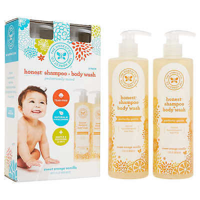 The Honest Company Shampoo and Body Wash 2 pack 17 oz Vanilla and Tangerine NEW!