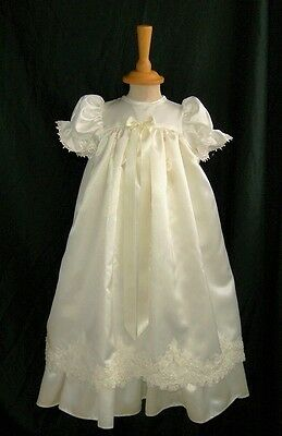 Baby Girls Ivory Satin Beaded Hem Christening Baptism Gown & Bonnet 0-6 Months