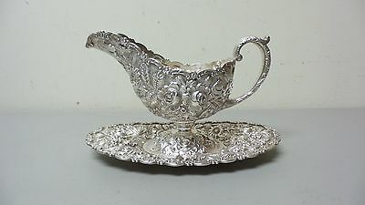 19th C. Baltimore Sterling Silver REPOUSSE Sauce / Gravy Boat & Tray, 810 grams