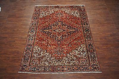 Persian 9X13 Heriz Antique Hand-Knotted 1930s Wool Area Rug Oriental *9.5 x 12.7