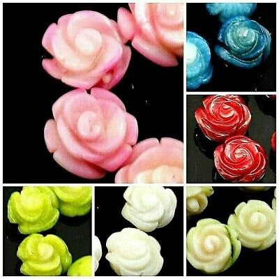 6PCS Coral Carved Rose Beads Red Pink White Yellow Green Blue 7mm 8mm 10mm 12mm