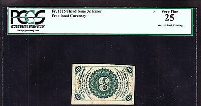 US 3c Fractional Currency FR 1226 w/ Inverted Back Error PCGS 25 VF