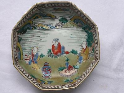 Antique Japanese octagonal Imari bowl rare design 1780-1830 handpainted #3448
