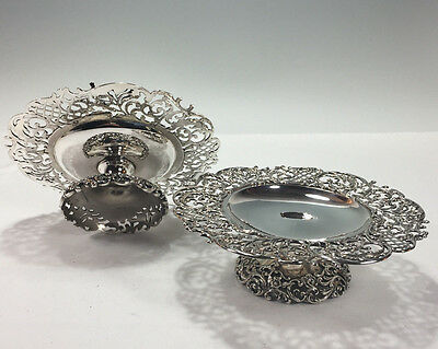 """Pair 7.5"""" Wide Sterling Silver Pierced Compotes THEODORE B. STARR NEW YORK  694g"""