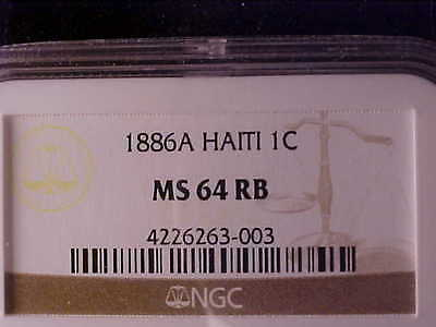 Haiti One Centime 1886A Ngc Ms 64Rb
