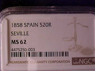 Spain Isabel Ii 20 Reales 1858 Seville Ngc Ms 62