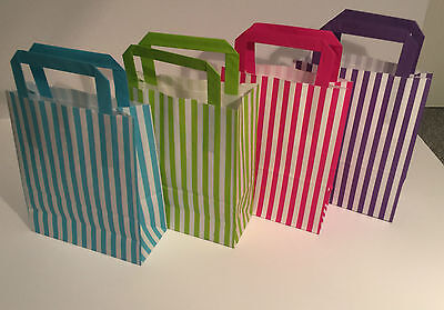 Paper Party Bags With Handles Stripe Wedding Hen Baby Loot Kids Christmas