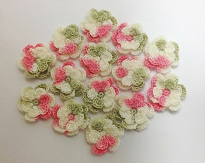 10 pcs - Pink/Cream/Green Swirl 2.5cm Crochet Double Layer Flowers - Gorgeous
