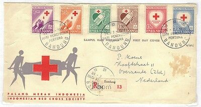 INDONESIA 1951-1956 2 FDC's Sc. B92-B97 SEMI-POSTAL 1st DAY COVER SURTAX WAS Sc.