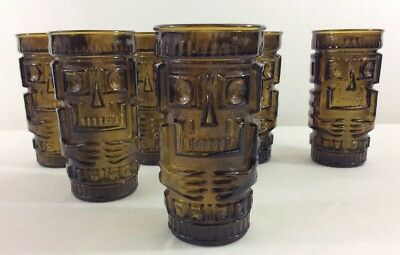 Mid Century Green Glass Tiki Bar Drinking Glasses Set 6 Vintage Retro