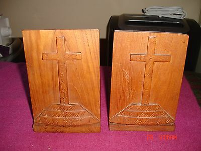 Pair Vintage Folding Wooden Crucifix Cross Bookends Wood Religious From Thailand