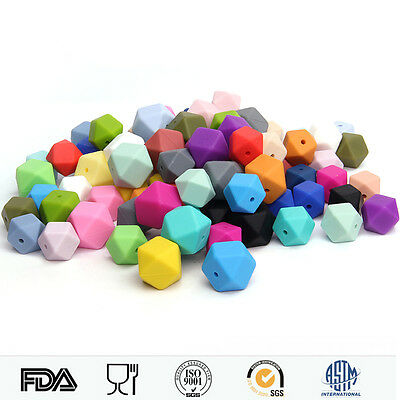 50Pcs Hexagon Teething Silicone Beads Chew Jewelry Teething Necklace Teether DIY