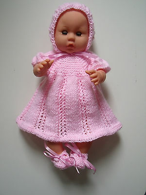 4 pce Pink Hand Knitted Dolls Clothes. 35-37cm 14-15in.