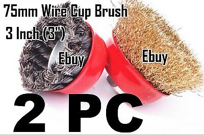 "2pc  3"" x 5/8"" Arbor FINE Crimped & Knot Wire Cup Brush Twist For Angle Grinders"