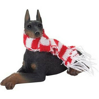 DOBERMAN PINSCHER Black Ornament Christmas Scarf New Sandicast Dog Red White