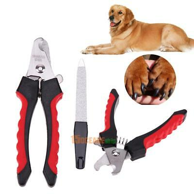 Stainless Steel Pet Nail Cutter Cat Dog Trimmer Claws Scissor Clipper +Nail File