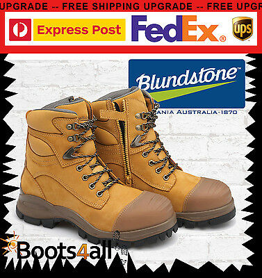 Blundstone Work Boots Safety Steel Toe Wheat Toe Zip Lace Up 992 BEST SELLER