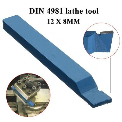 Tungsten carbide tipped parting off lathe tool Blue P30 DIN4981 12x8mm shank