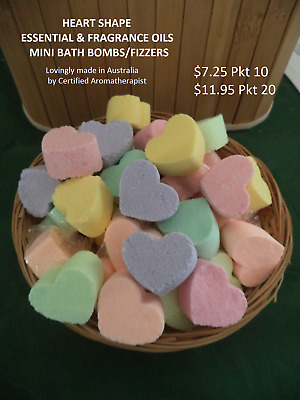 HEART SHAPE MINI ESSENTIAL & FRAGRANCE OIL BATH BOMBS Pkt 10 or Pkt 20