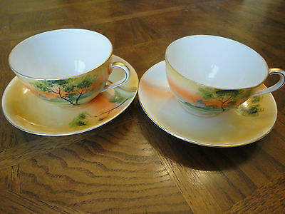Vintage! 2 Hand Painted Tea Cup & Saucer, Noritake Japan, Mint Condition, No Tax
