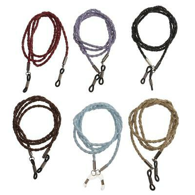 6x PU Leather Eyeglass Reading Spectacles Sunglass Glasses Holder Cord Chain