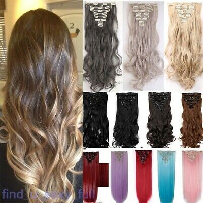 Smooth Clip In Hair Extensions Long Straight Full Head as human Hair Extentions