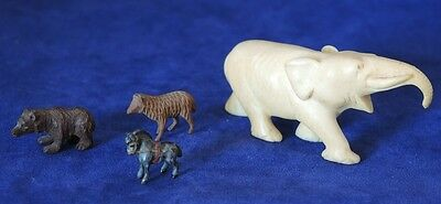 Small Ivory Coloured Carved Elephant + Tiny Wooden Bear Sheep Metal Horse #16