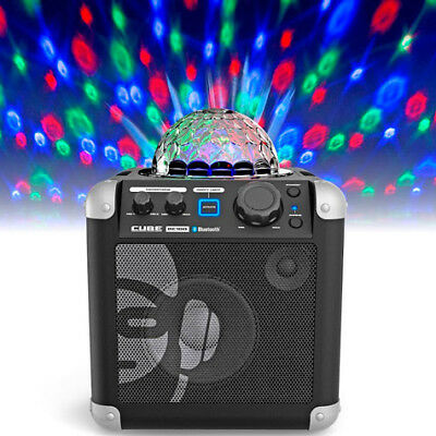 iDance Sing Cube in Black - Bluetooth Karaoke System with Built-in Light Show