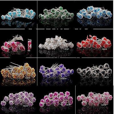 5 10 20pcs Rose Flower Crystal Wedding Party Bridal Prom Star Hair Pin Clips HIG
