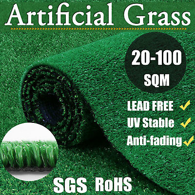 20-100 SQM Synthetic Grass Artificial Yard Garden Turf Fake Lawn Mat Patio 17mm