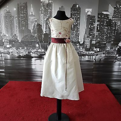 Vintage Look  (Ivory-Burgundy-7-8 Years) Flower-girl, Party, Pageant, Bridesmaid