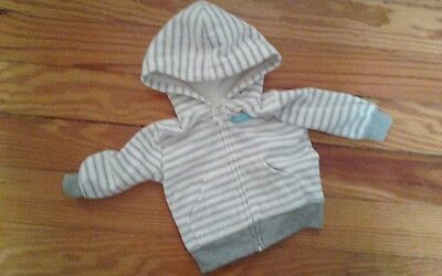 EUC Just One You Infant Boys Long Sleeve Jacket Size 3 Months Gray Striped