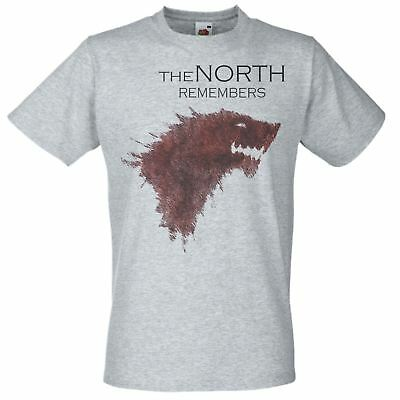 Mens Grey ' The North Remembers' House Stark T-Shirt Game of Thrones Fan Art